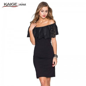 Kaige Nina Women Summer Dress Bodycon Chic Elegant Off Shoulder Evening Party Dress Ladies Thumbnail