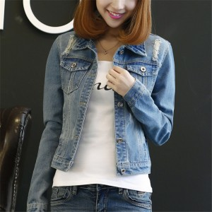 Korean Fashion Autumn Long Sleeve Women Denim Jacket Frayed Jeans Coats Casual Oversized Plus Size Outwear Female