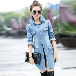 Korean Style Frayed Women Denim Jacket Four Pockets Decorated Hole Jeans Coats Vintage Slim Coat Roupas Femininos