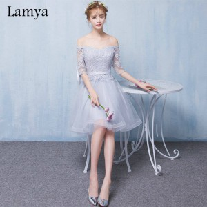 Lamya Customizable Short Lace Sleeve With Boat Neck Prom Dress A Line Wedding Party Dress Occasion Gowns Thumbnail