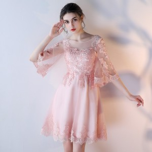 Lamya Elegant Prom Dress With Half Lace Sleeve Plus Size Short A Line Evening Party Dresses Sexy Special Occasion Gowns