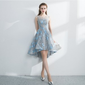 Lamya Embroidery Banquet Evening Dress Short Pretty Front Back Long Tail Prom Party Gown Plus Size Elegant Dresses