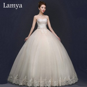 Lamya Princess High Quality Champagne Sweetheart Criss Cross Wedding Dress Bridal Gowns Marriage Dress Thumbnail