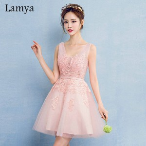 Lamya V Neck Plus Size A Line Lace Prom Dress New Arrival Short Elegant Evening Party Gown Occassion Dress Thumbnail