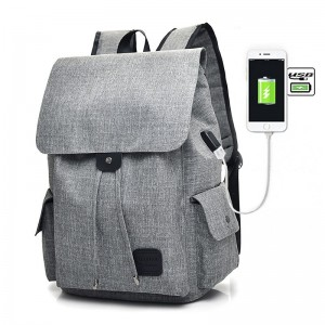 Large Capacity Canvas Shoulder Bags Unisex Solid USB Charging Laptop Backpack Women Men High Quality Travel Bags