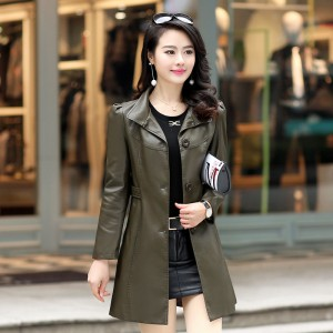 Leather Jacket For Women Female Jacket 2019 New Fashion 5XL Plus Size Turn Collar Slim Long Jacket For Autumn