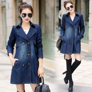 Long Denim Jackets Women New Korean Autumn Vintage Fashion Basic Slim Coats Double Breasted Casual Outerwear