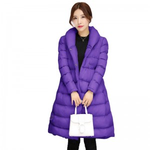 Long Feather Padded Parka Jackets For Women Thick Warm Casual Fashion Winter Coats Thumbnail