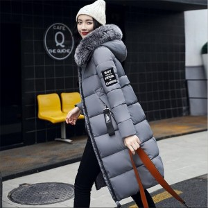 Long Winter Jacket Women 2019 Epaulet Large Fur Pockets Parkas Women Cotton Padded Jacket Winter Coat Outwear Female