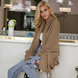 Loose Batwing Sleeve Knitted Cardigan Women Casual Female Coat Soft Casual Sweater Outerwear Autumn Elastic Jumper