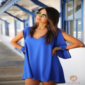 Loose Chiffon Casual Beach Dress V Neck A Line Off Shoulder Long Sleeve Bodycon Women Dress Thigh High Dresses