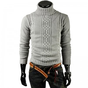 Male Sweater Pullover Men Male Brand Casual Slim Sweaters Men Solid High Lapel Jacquard Hedging Men Sweater XXL STAA