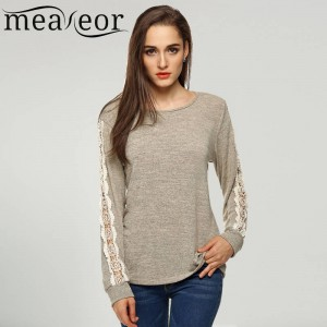 Meaneor Casual Long Sleeve Tees O Neck Loose Fit T Shirts New Style For Women Thumbnail