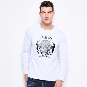 Men Clothes Tee Shirt Trend Print Slim Fit Long Sleeve T Shirt Men O Neck Mercerized Cotton Casual Mens T Shirts