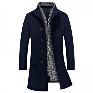 Men Long Stretch Blends Hot Sale Autumn Winter Turn Down Collar Cashmere Fashion Coat Plus Size Male Blazers Coats