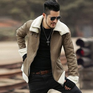 Men new winter brown Lambs woolen faux fur jacket man warm thick European style motorcycle bikers jacket coat