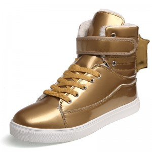 Men Shoes Golden High Top Mens Casual Shoes British Gold And Silver Winter Shoes Men Big Yards Boots Students Shoes