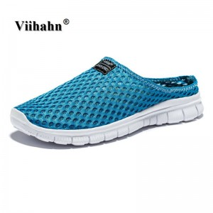 Men Slippers Casual Flat Sandals Mesh Shoes Beach Aqua Anti Slip For Men Thumbnail