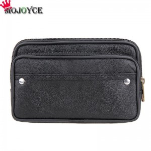 Men Waist Pack Bags PU Leather Casual Small Belt Wallets Phone Holder Belt Money Pack Wallet Purse