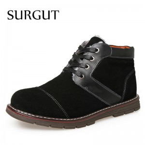 Mens Boots Non Slip Ankle Snow Boots Cool Winter Warm Fluff Cotton Lace Up 2018 New Arrival Fashion Boots For Men