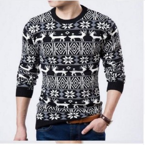 Mens Christmas Sweater Deer Printed Sweater For Men Pullovers Oversized Sweaters Knitted Cardigan For Winter