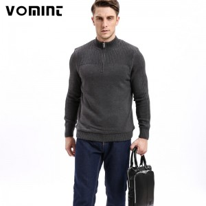 Mens Class Sweaters Cotton Sweater Men Pullover Thick Knitted Zipped Half Neck Solid Color Sweater shirt For Men