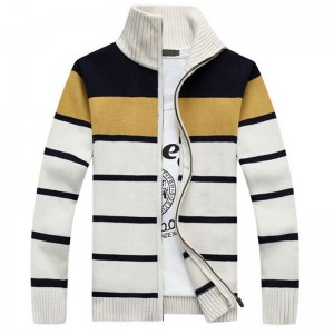 Mens Fashion Style Sweater Cardigan 2018 New Arrival Full Sleeve Striped Stand Collar Autumn Overcoat Pullovers For Men