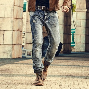 Mens Retro ripped jeans mens solid Washing denim jeans new Korean style casual trousers stretch man denim pants
