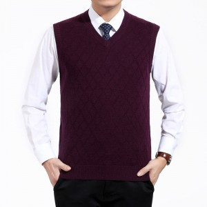 Mens Short V Neck Wool Knitted Vest Large Size Sweater Pullover Jumper Jersey Hombre Warm Slimming Formal Clothes