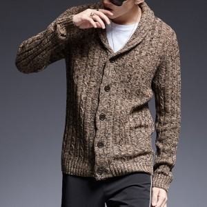Mens sweaters V neck winter Cardigan Knitwear Slim Casual Lapel Single Breasted autumn Wool Cotton brand Men Coat