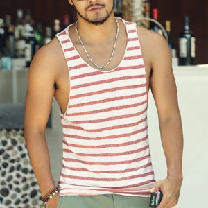 Mens Undershirt Tank Top Vest Sleeveless T Shirt Top Men Fitness Summer Beach Bamboo Cotton Striped Tees