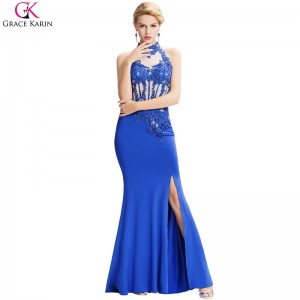 Mermaid Evening Dresses Slit Robe De Soiree Halter Backless Sequin Beaded Blue Formal Gowns Long Evening Dress