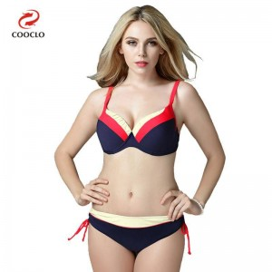 Mid Waist Bikini Swimsuits For Female Patchwork Plus Size Beachwear Push Up Red Bathing Suits For Women