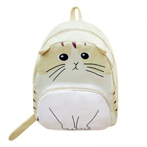 Mojoyce Cat Printed Backpack For Women Lovely Canvas School Bags For Teenagers Ladies Cute Rucksack Bookbag