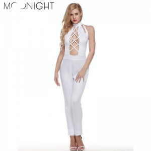 Moonlight Fashion Elegant Women Rompers Hollow Out Jumpsuit Sleeveless Bodysuit Backless Sexy Dress Women Thumbnail