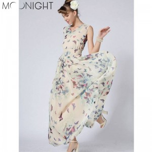 Moonlight O Neck Women Summer Long Beach Dress Boho Ladies New Style Fashion Multicolor Floral Maxi Women Thumbnail