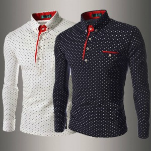 New Arrival England Style Long Sleeve Wave Dotted Print Shirts For Men Thumbnail