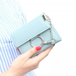 New Arrival Pu Leather Metal Chain Lock Ladies Wallet Clutch Short Design Card Holder Coin Purse Thumbnail