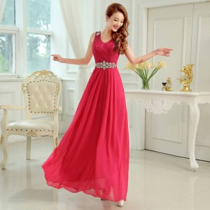 New Arrival Shoulder Straps V Neck A Line Chiffon Bridesmaid Dress For Women Thumbnail