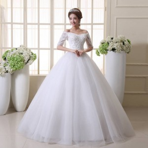New Arrival Slit Neckline Sweet Princess Dress Wedding Bride Dress Long Sleeve Strap Belt Dress For Women Thumbnail