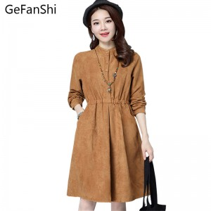 New Arrival Spring Autumn Casual Loose Dress O Neck Long Sleeve Boho Vintage For Women Thumbnail