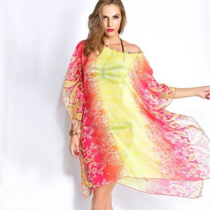 New Arrival Spring Beach Cover Ups Women Beach Tunic Sexy Swim Dress Kaftan Beach Sunscreen Floral Swimsuit Thumbnail