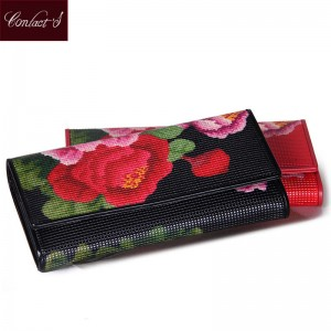 New Arrival Women Wallet Genuine Leather Floral Print Trifold Long Ladies Purse With Zipper Thumbnail