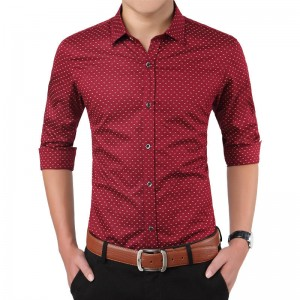 New Autumn Fashion Slimfit Long Sleeve Shirt Polka Dot Social Office For Men Thumbnail