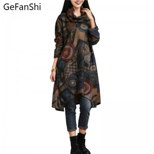 New Autumn Winter Casual National Style Dress For Women Long Sleeve Basic Dress Thumbnail