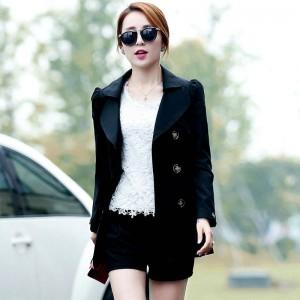 New Brand Autumn Trench Coat Long Sleeve Double Breasted Solid Loose With Pockets Women Thumbnail