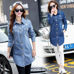 New Brand Women Fashion Jeans Jacket Vintage Plus Size Autumn Casual Long Sleeve Hole Stretch Long Denim Jacket Coat