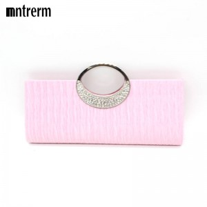New Evening Bags Clutches Solid Color Soft Evening Clutches Rhinestone Shiny Satin Handbags For Women Thumbnail