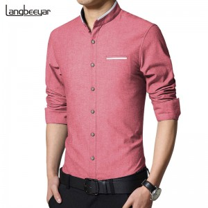 New Fashion Casual Long Sleeve Mandarin Collar Slimfit Korean Business Shirts Thumbnail