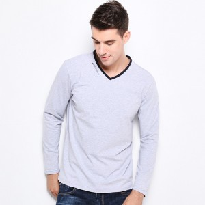 New Fashion Men Clothes Tee Shirt Trend V Neck Slim Fit Long Sleeve T Shirt Men Mercerized Cotton Casual Mens T Shirts